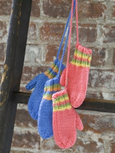 Knit Striped Mittens