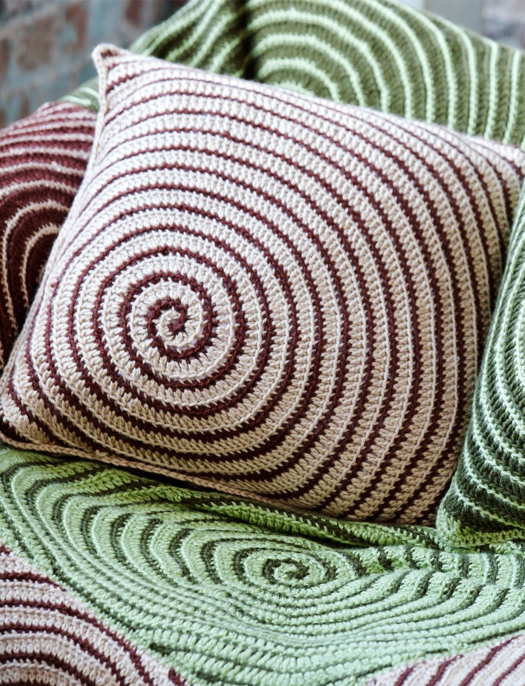 Caron Vortex Afghan & Pillows, Crochet Pattern Yarnspirations