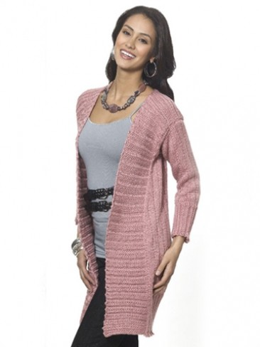 Knitting Pattern For A Long Cardigan : Caron Long & Lean Cardi, Knit Pattern Yarnspirations
