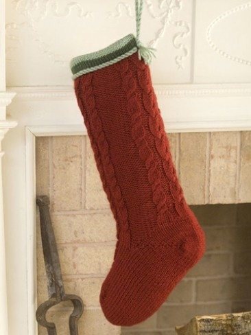 Free Stocking Knitting Pattern : Caron Cabled Christmas Stocking, Knit Pattern Yarnspirations