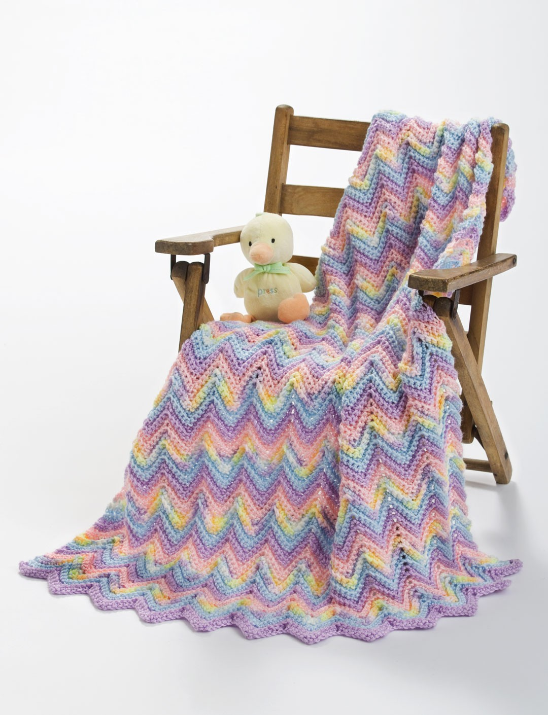 Caron Knit or Crochet Ripple Baby Blanket, Crochet Pattern Yarnspirations