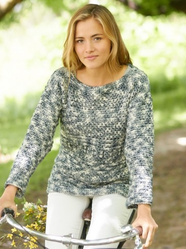 Ridge Sleeve Crochet Pullover