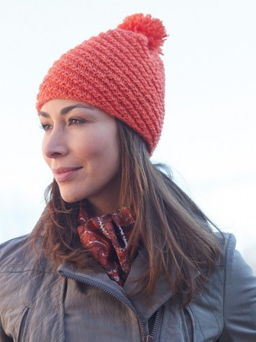 Diagonal Stitch Pompom Hat