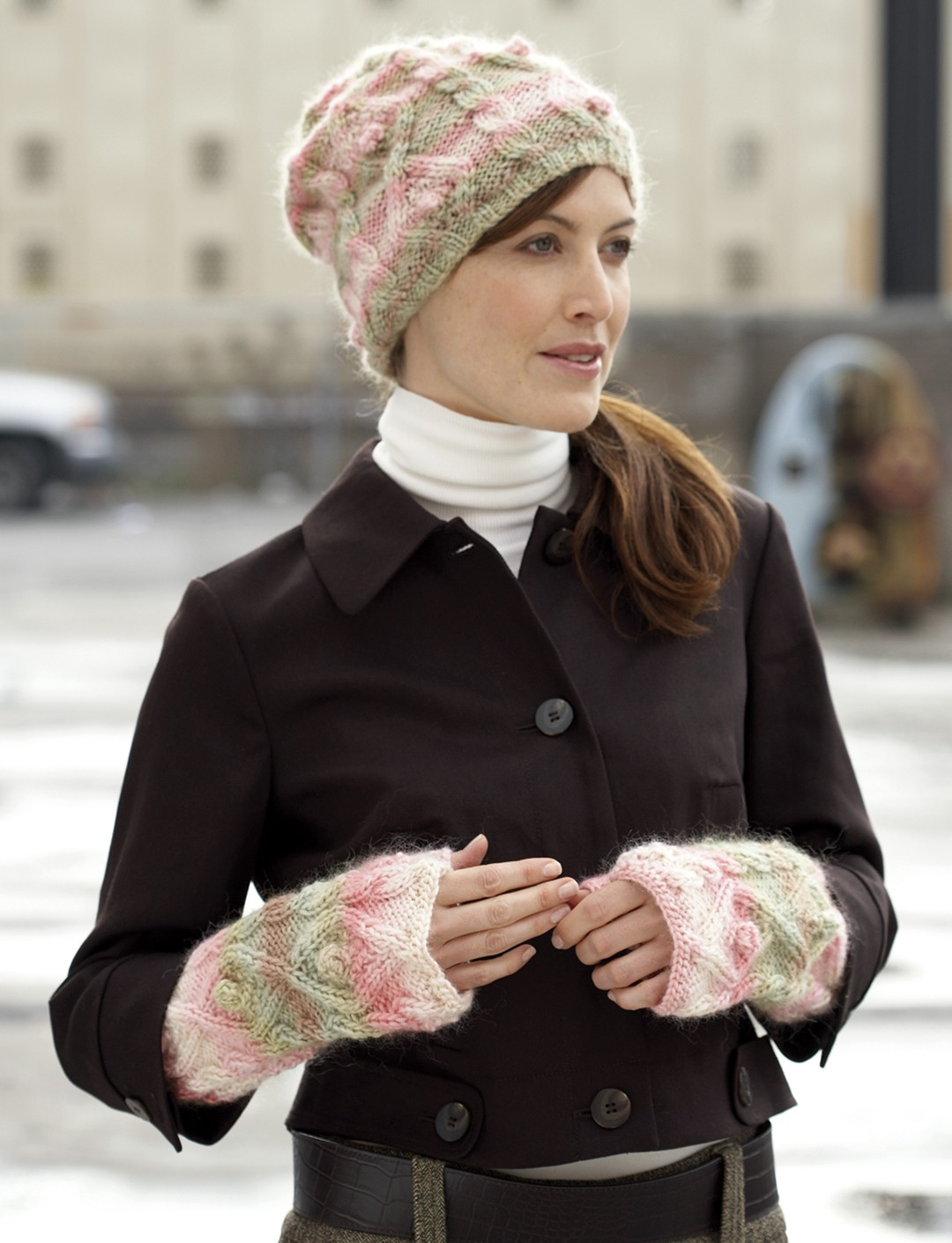 Cable Hat and Wrist Warmers