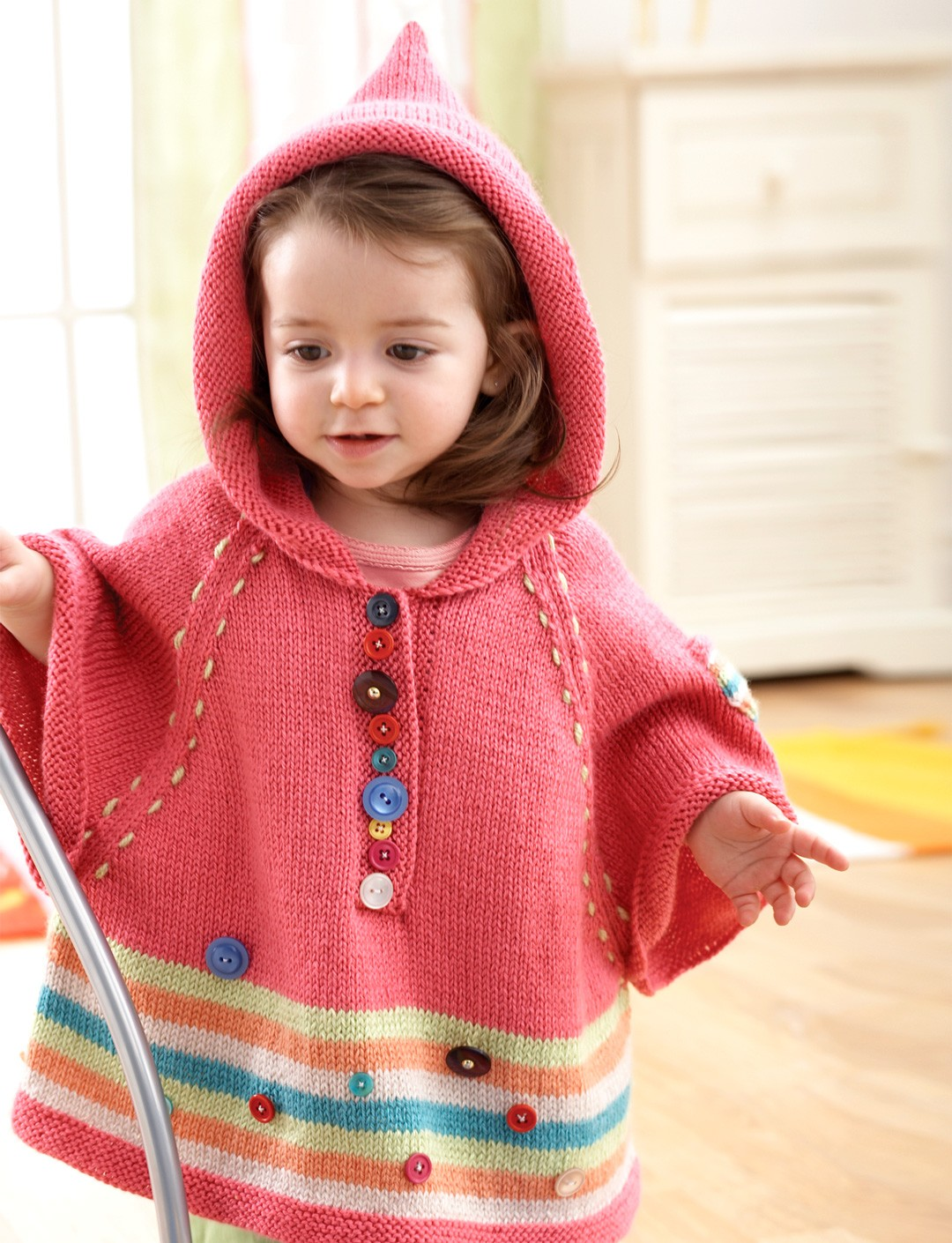 Knitting Pattern Baby Poncho With Hood : Hooded Poncho - Patterns Yarnspirations