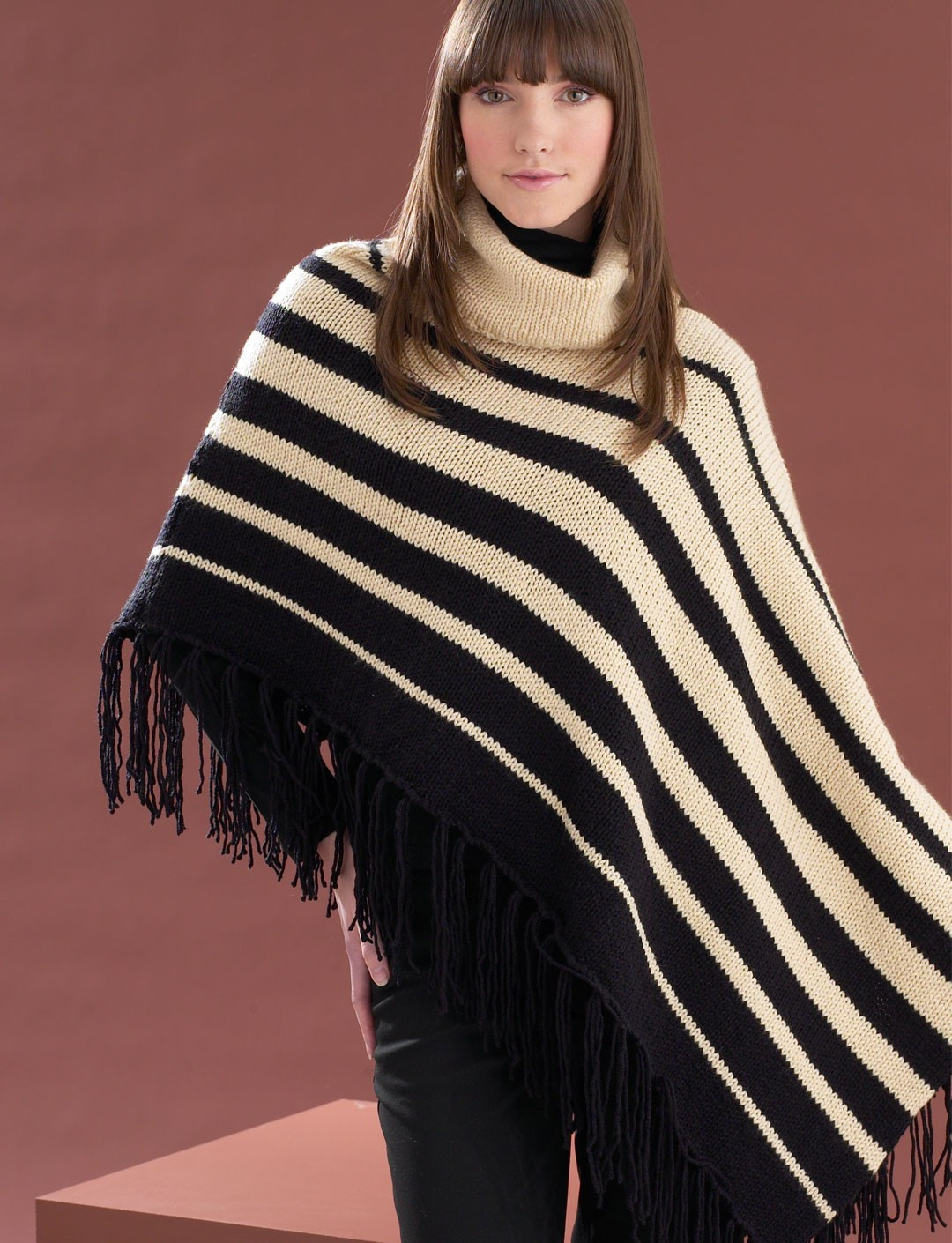Knitting Pattern Striped Poncho : Asymmetrical Striped Poncho - Patterns Yarnspirations