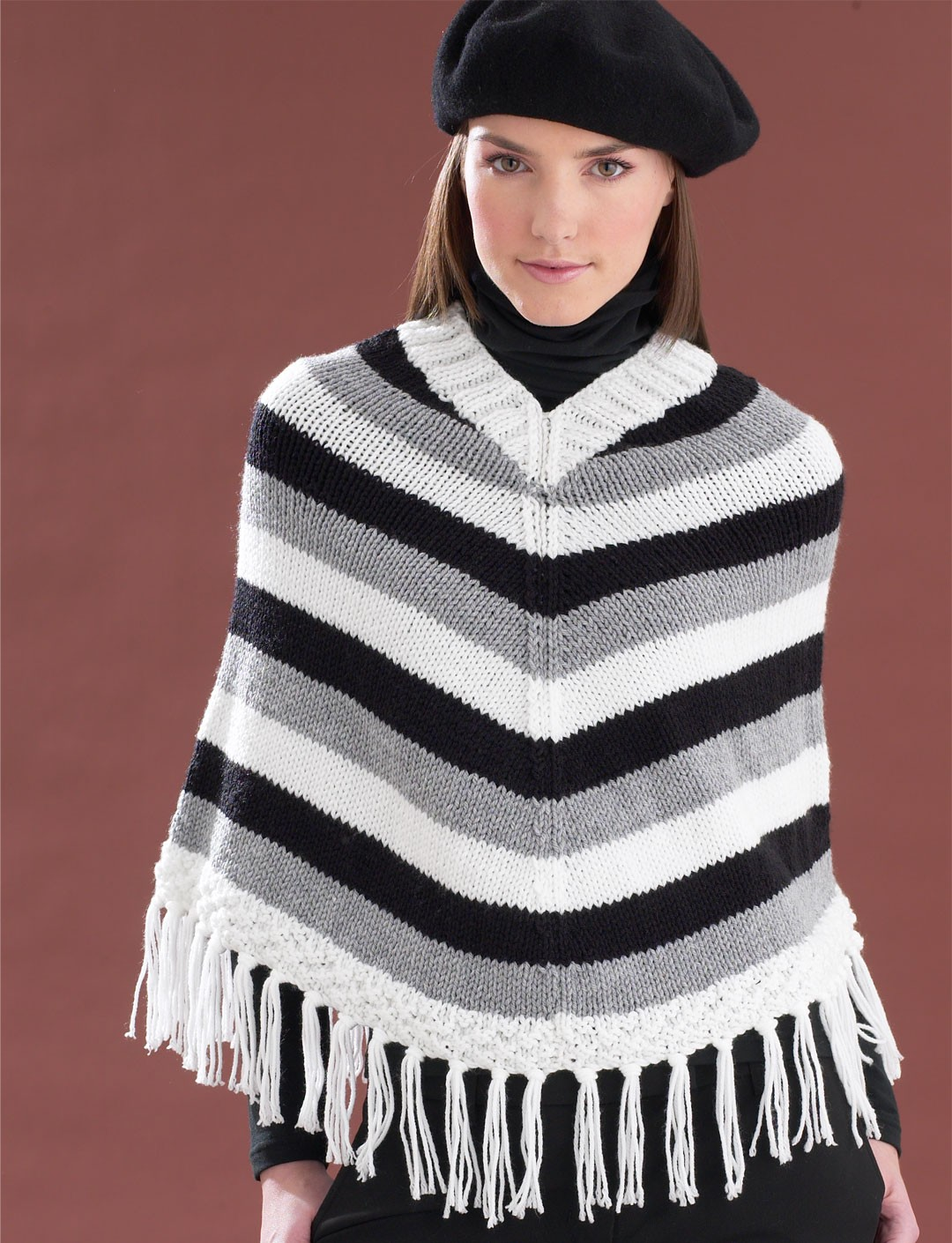 Knitting Pattern Striped Poncho : Striped V-Neck Poncho - Patterns Yarnspirations