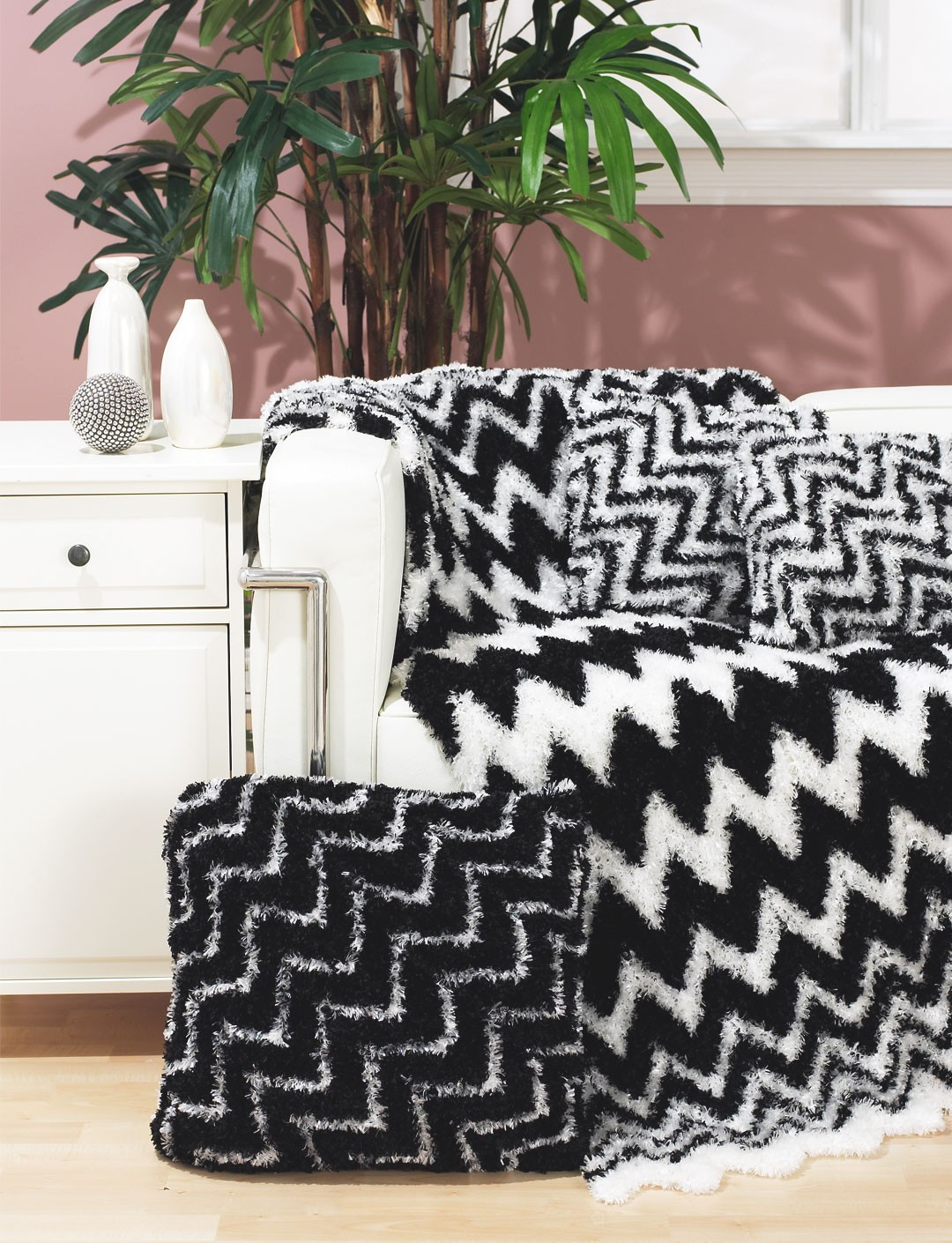 Bernat Zebra Throw and Pillows Yarnspirations