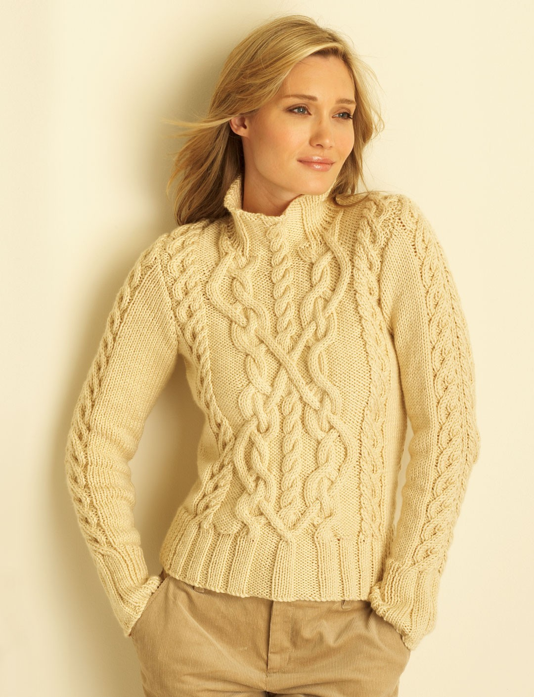 Knitting Pattern Ladies Cable Jumper : Cable Sweater - Patterns Yarnspirations