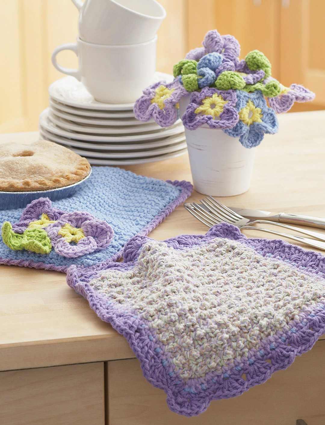 Dishcloth and Pansy Potholder