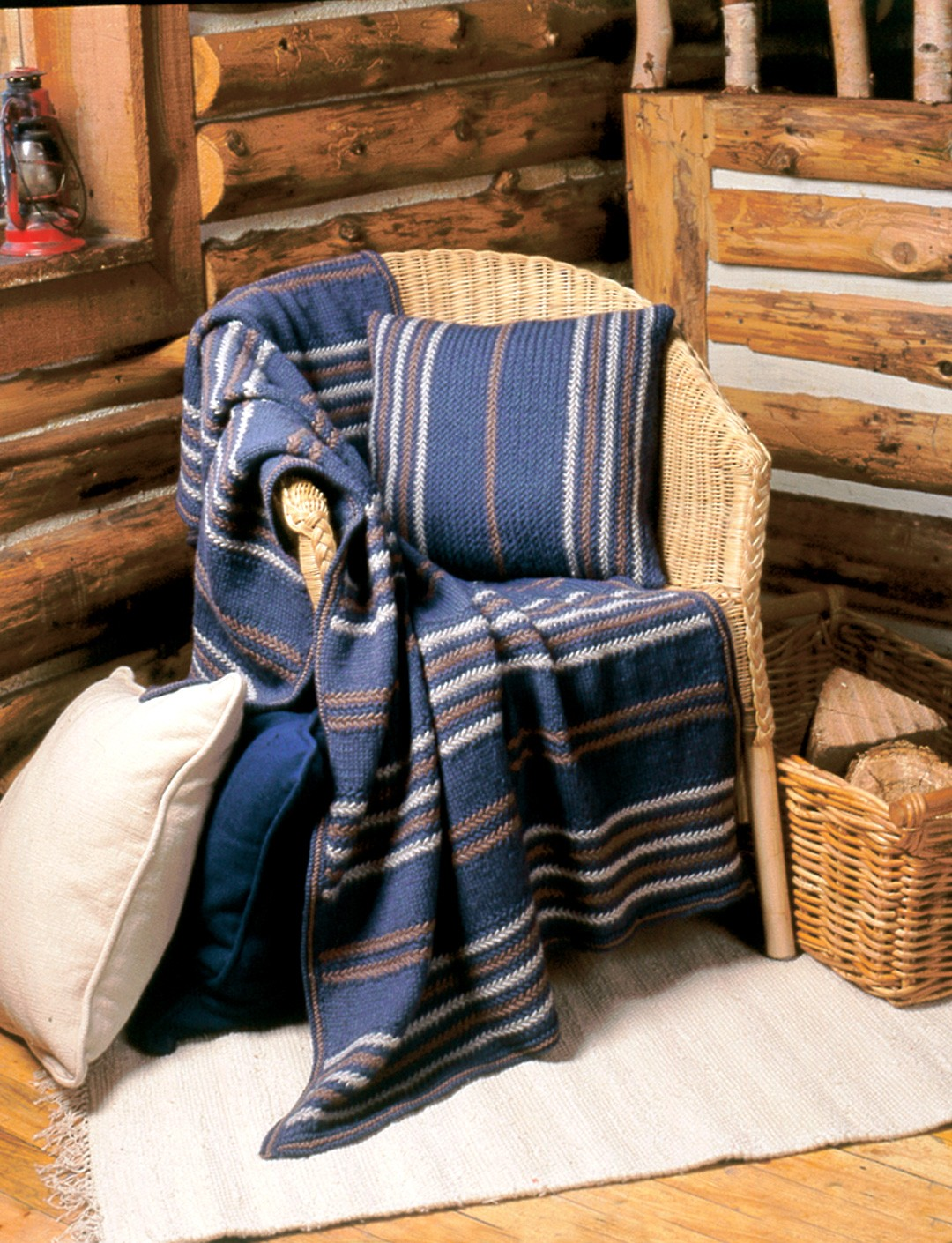 Woven-Look Afghan and Pillow