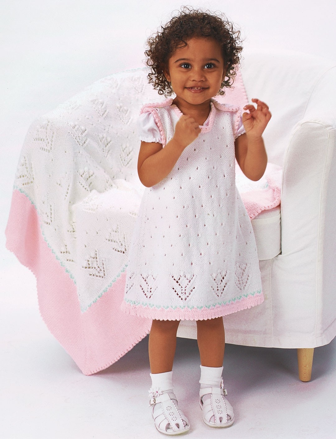 Patons Knitting Patterns For Babies Free : Patons Tulip Lace Dress with Blanket (Pattern) Yarnspirations