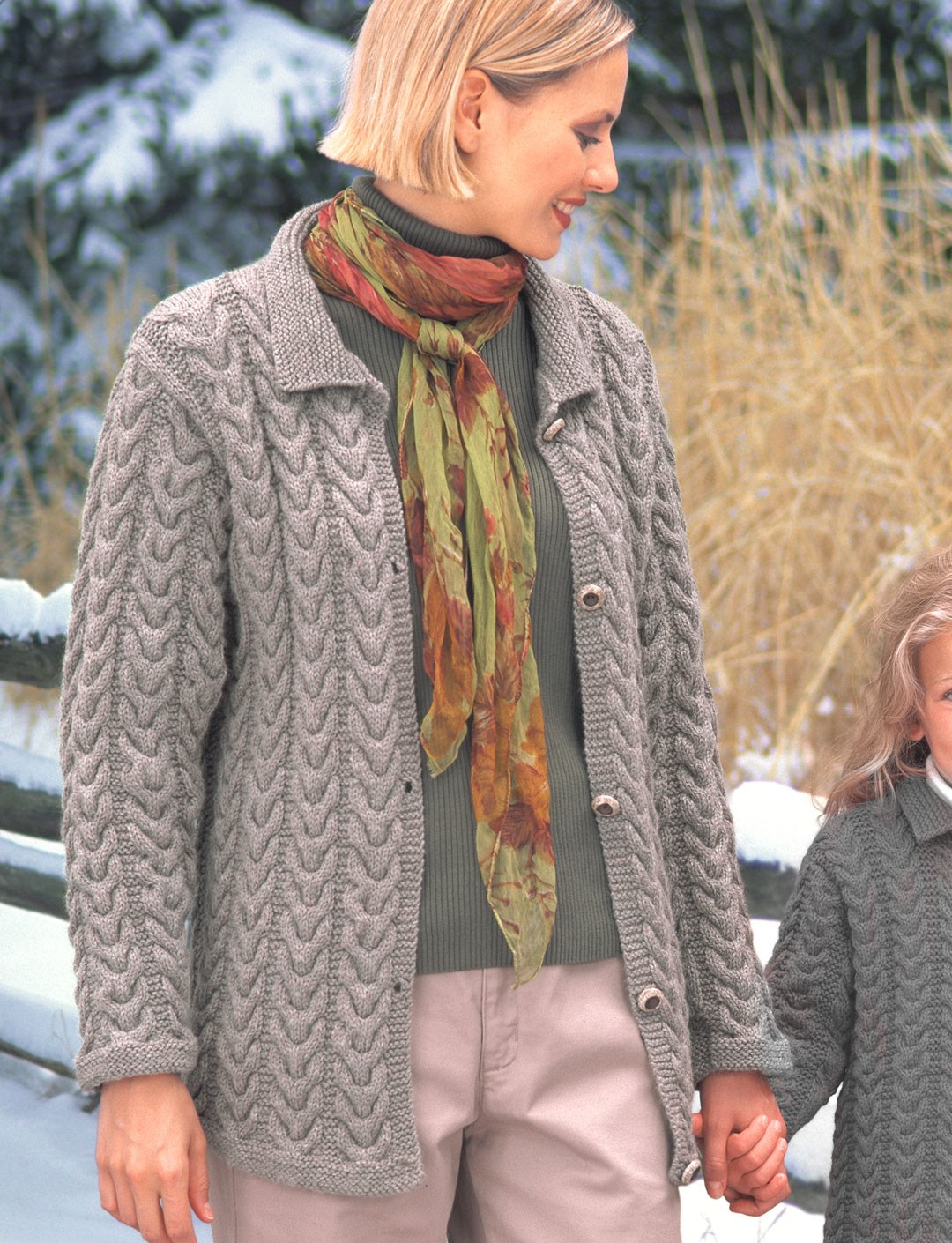 Knitting Patterns Cardigan Ladies : KW - Ladies Cuddly Cables Cardigan (knit) - Patterns Yarnspirations