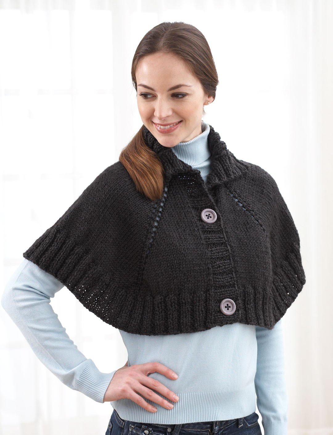 Top down button front capelet pattern yarnspirations top down button front capelet bankloansurffo Gallery