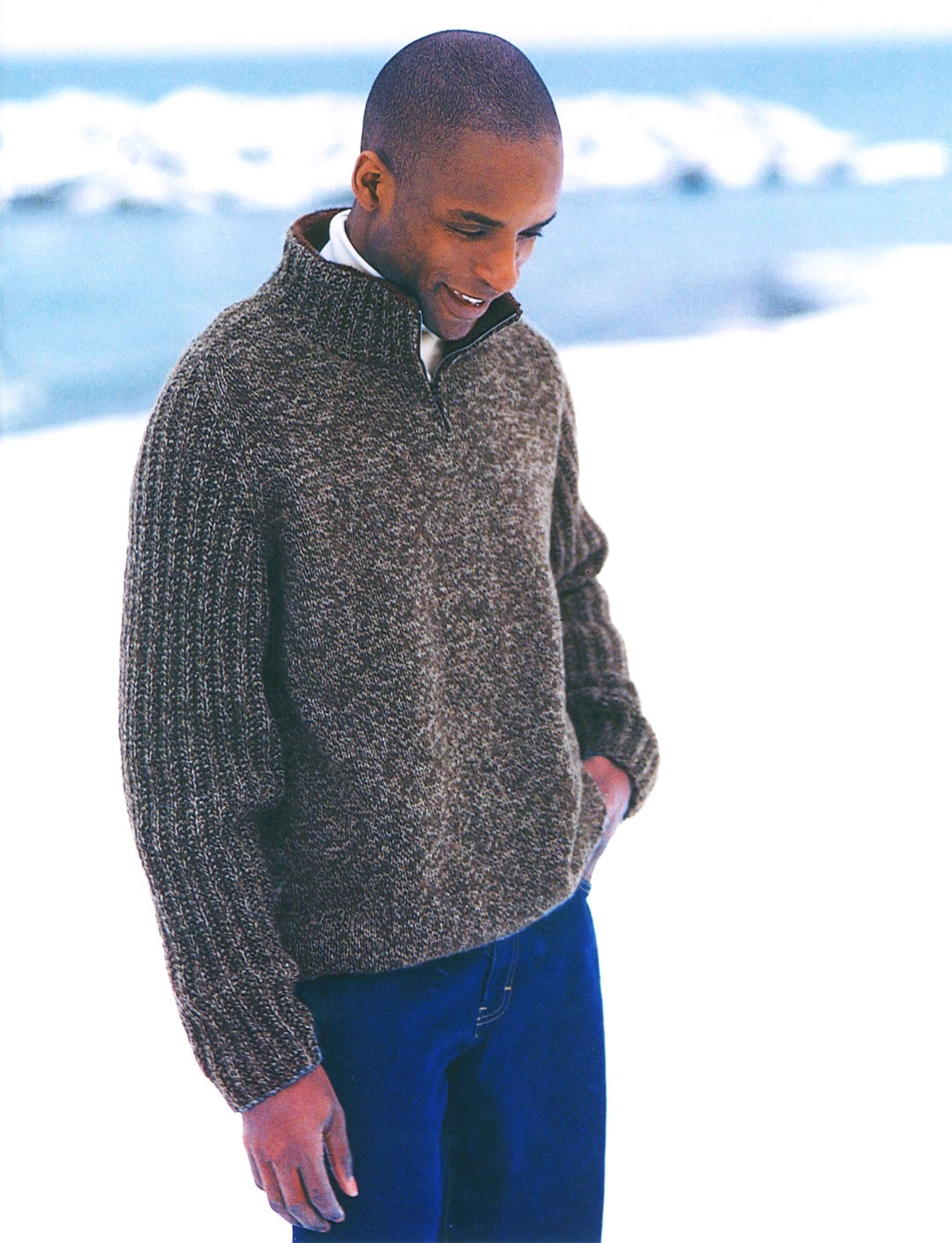 Knitting Patterns For Mens Half Sweaters : Zip Neck Saddle Shoulder (Pattern) Yarnspirations