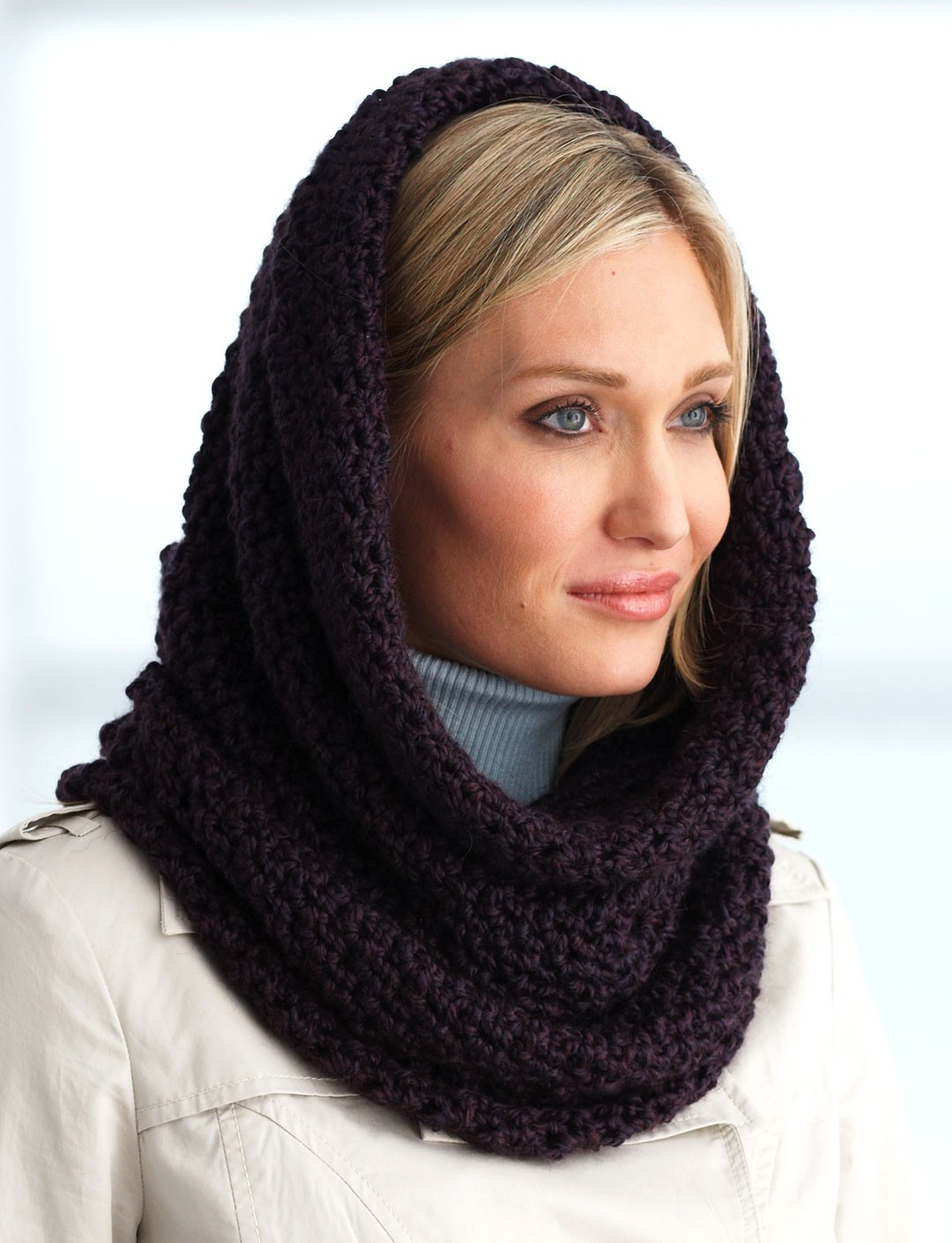 Easy Knitted Hooded Scarf Pattern Free : Bernat Hooded Cowl (Pattern) Yarnspirations