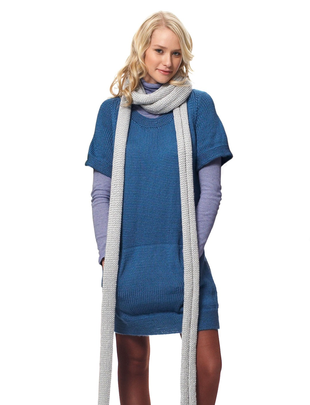 Knitting Pattern For Dressy Scarf : Bernat Dress with Kangaroo Pockets and Scarf, Knit Pattern Yarnspirations