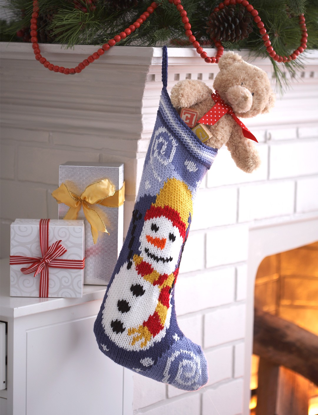 Bernat snowman stocking knit pattern yarnspirations snowman stocking bankloansurffo Gallery