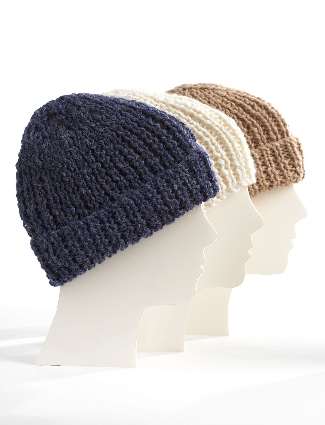 Knitting Patterns For Toques : Bernat Knit Family Toques, Knit Pattern Yarnspirations
