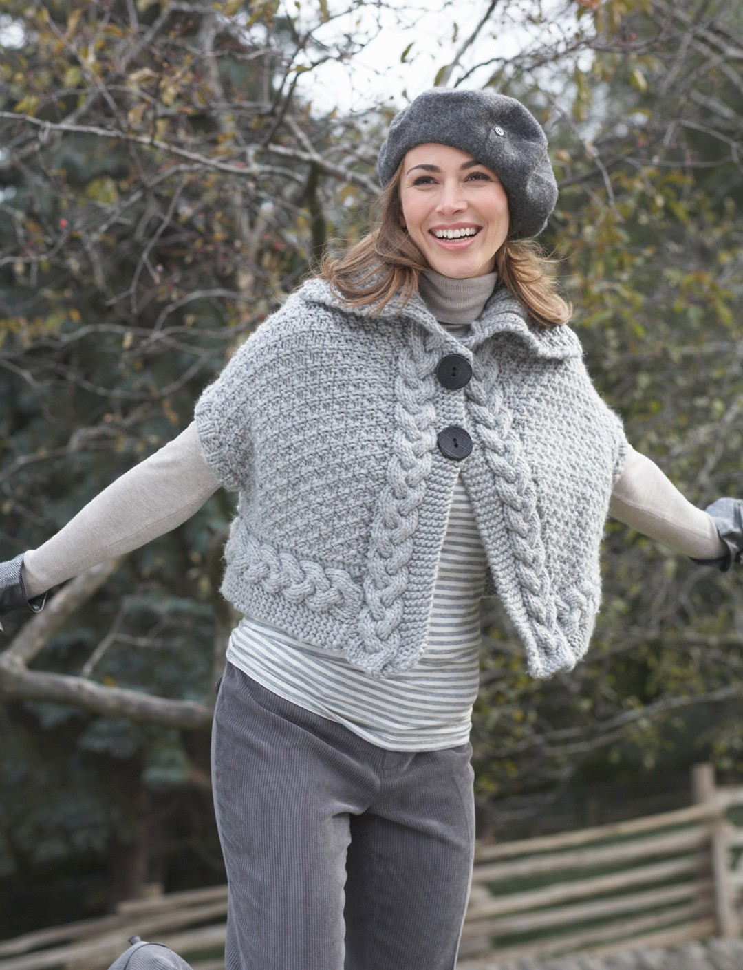 Cable Cape Knitting Pattern : Bernat Cable Cape, Knit Pattern Yarnspirations