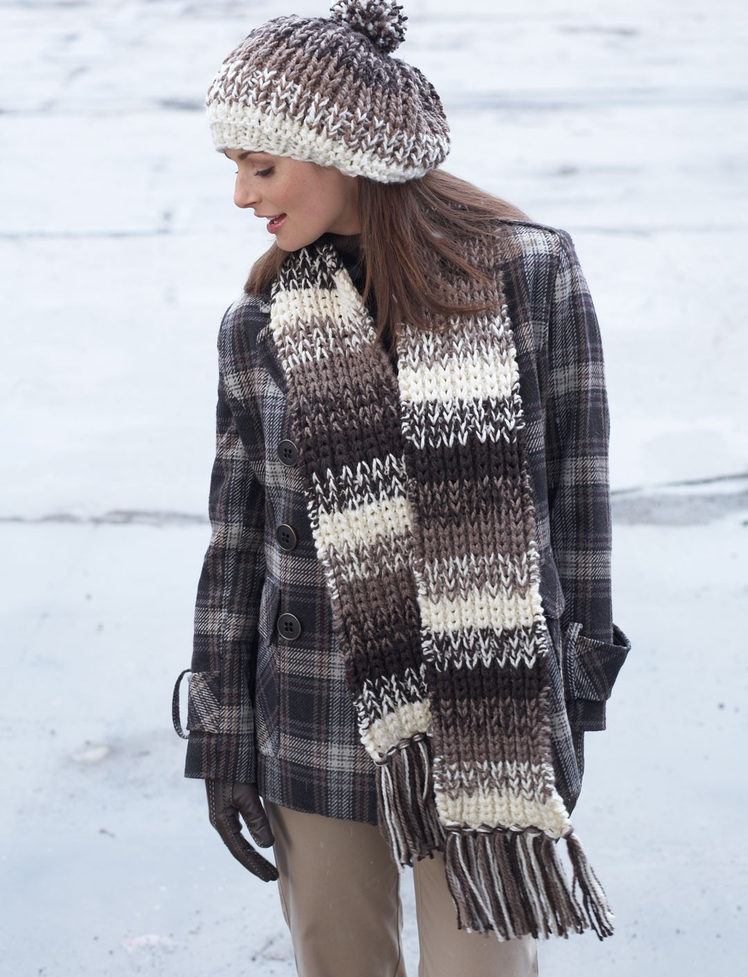 Shaded Stripes Hat & Scarf