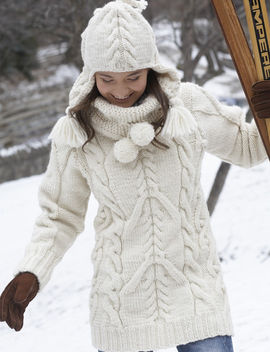 Patons Big Aran Sweater and Earflap Hat, Knit Pattern ...