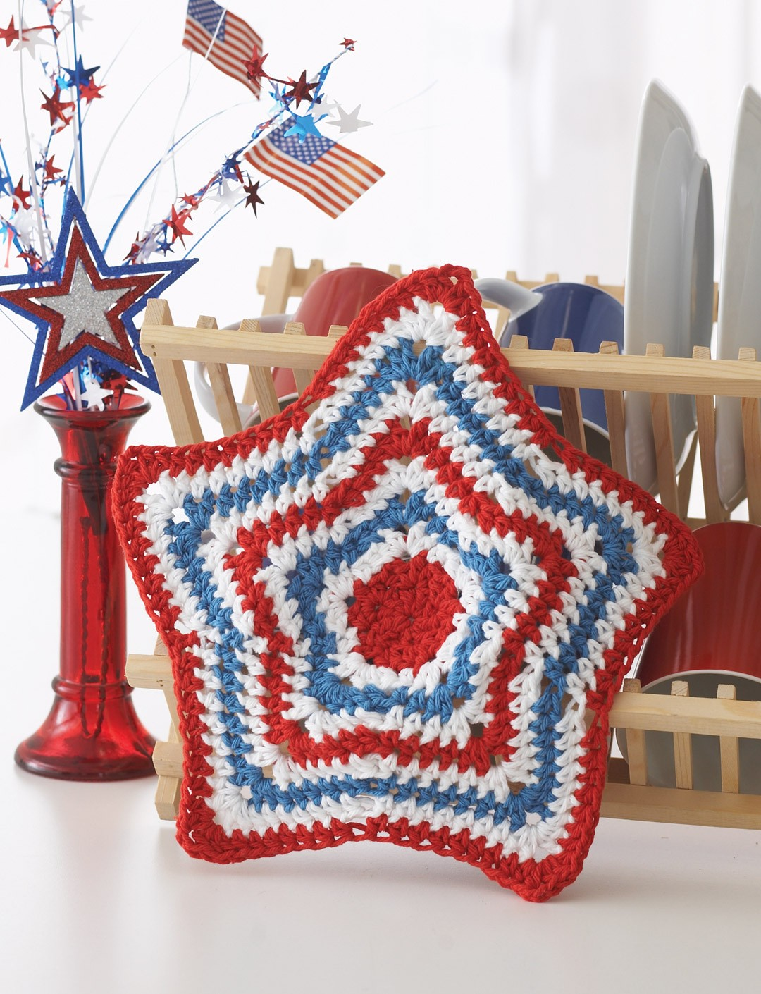 Stripey Star Dishcloth