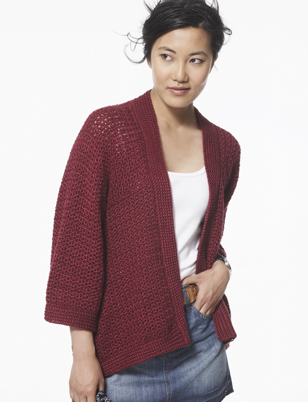 Knitting Pattern For Kimono Cardigan : Patons Soft Drape Kimono Jacket, Crochet Pattern Yarnspirations