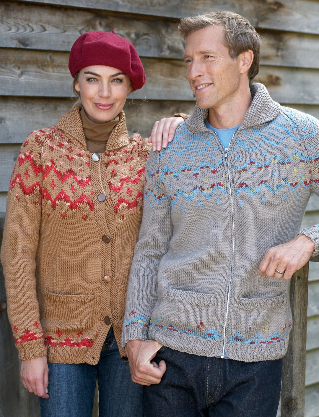 Free Knitting Patterns For Finger Puppets : Bernat His & Hers Fair Isle Cardigans, Knit Pattern Yarnspirations