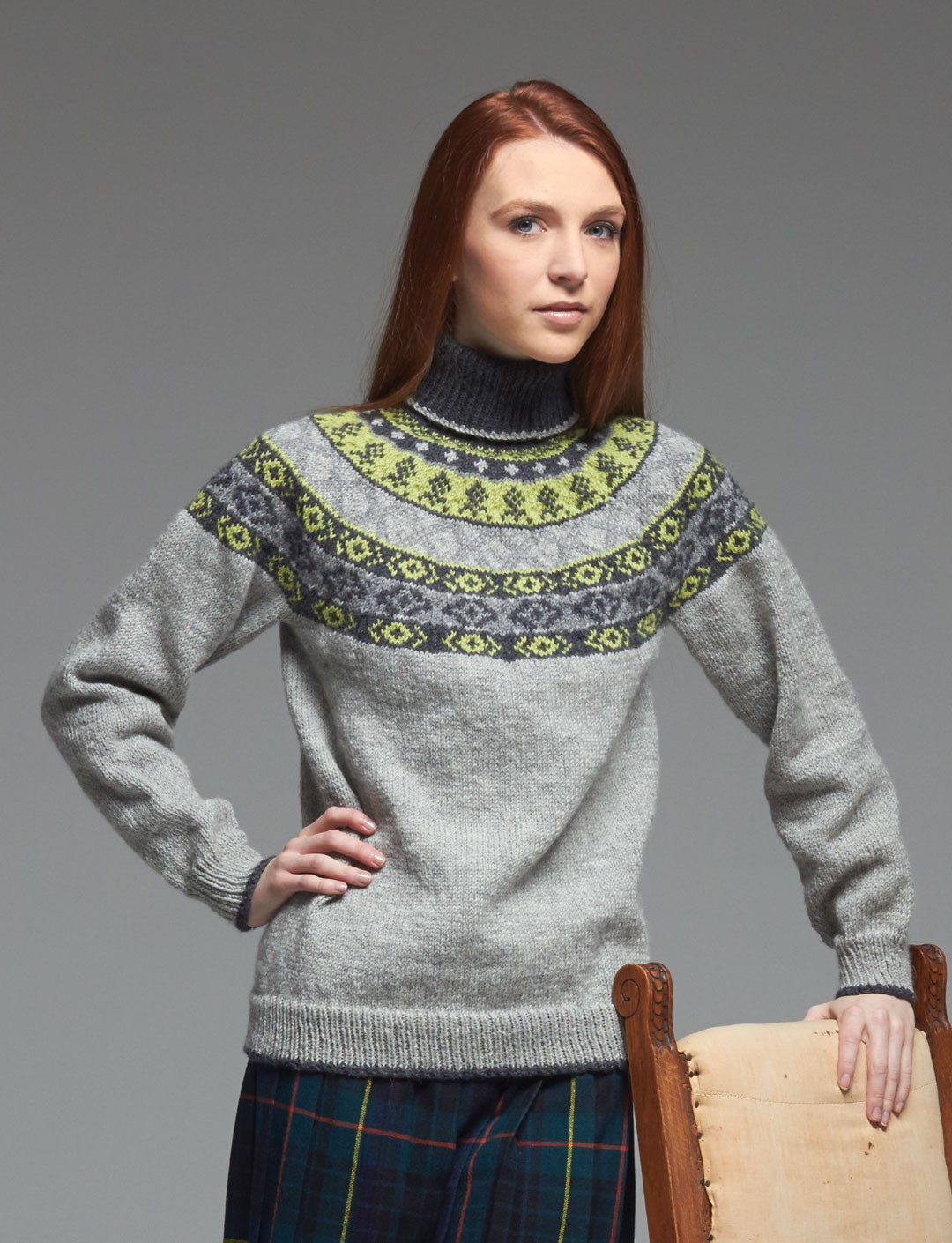 Patons Woman's Fair Isle Yoke Sweater, Knit Pattern | Yarnspirations