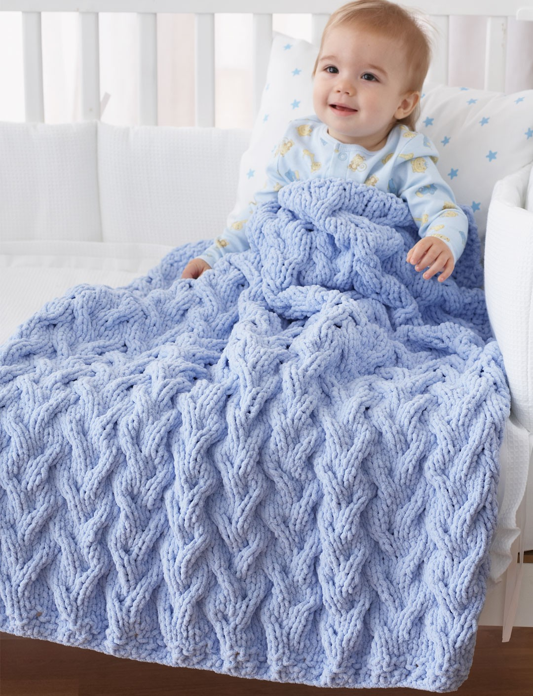 Free Knit Baby Afghan Patterns : Bernat Shadow Cable Baby Blanket, Knit Pattern Yarnspirations
