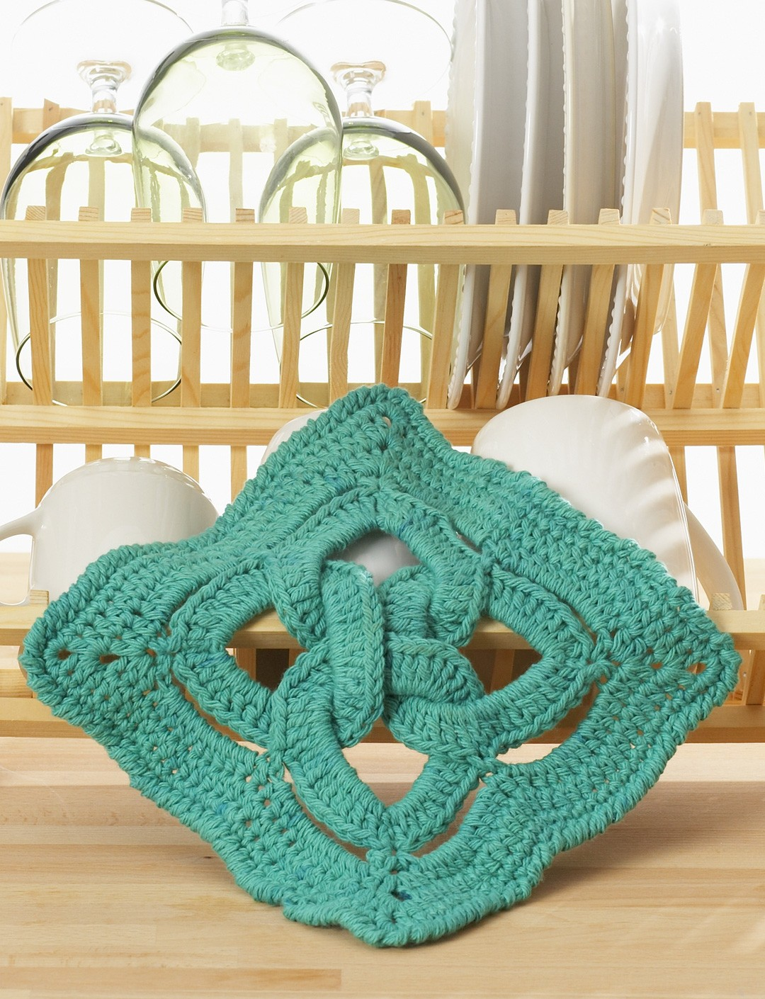 Celtic Knot Knitting Pattern Book : Lily Celtic Knot Dishcloth, Crochet Pattern Yarnspirations