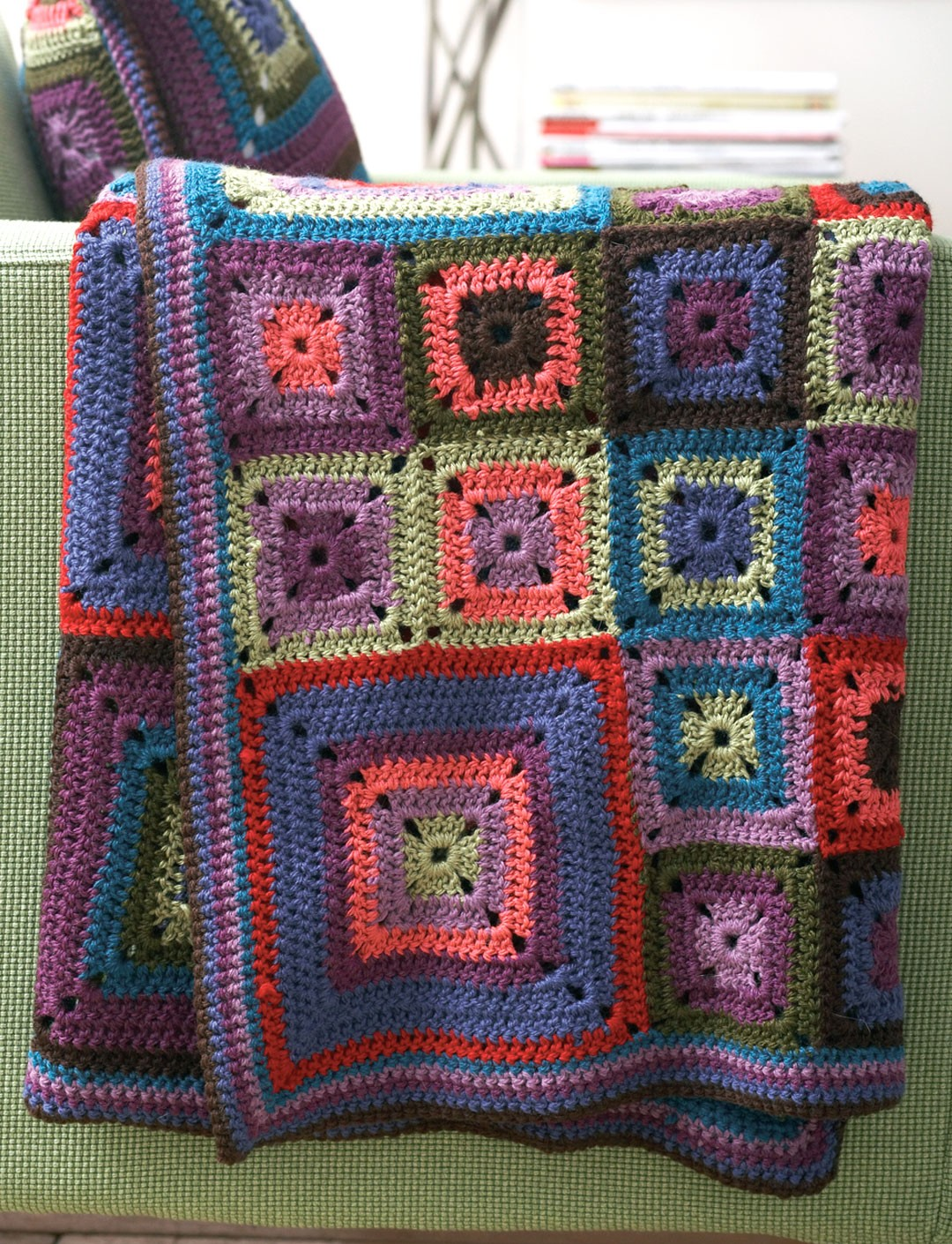 Patons Free Crochet Afghan Patterns : Patons Bright Squares Blanket and Pillow, Crochet Pattern ...