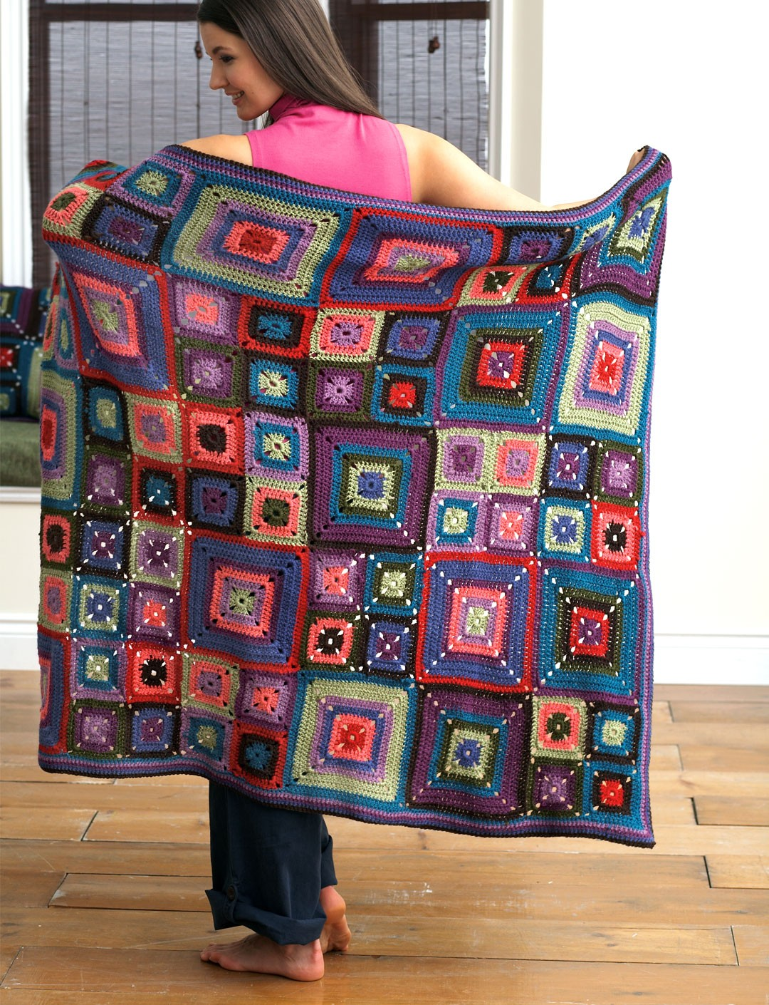 Nantucket Afghan Knitting Pattern : Patons Bright Squares Blanket and Pillow, Crochet Pattern ...