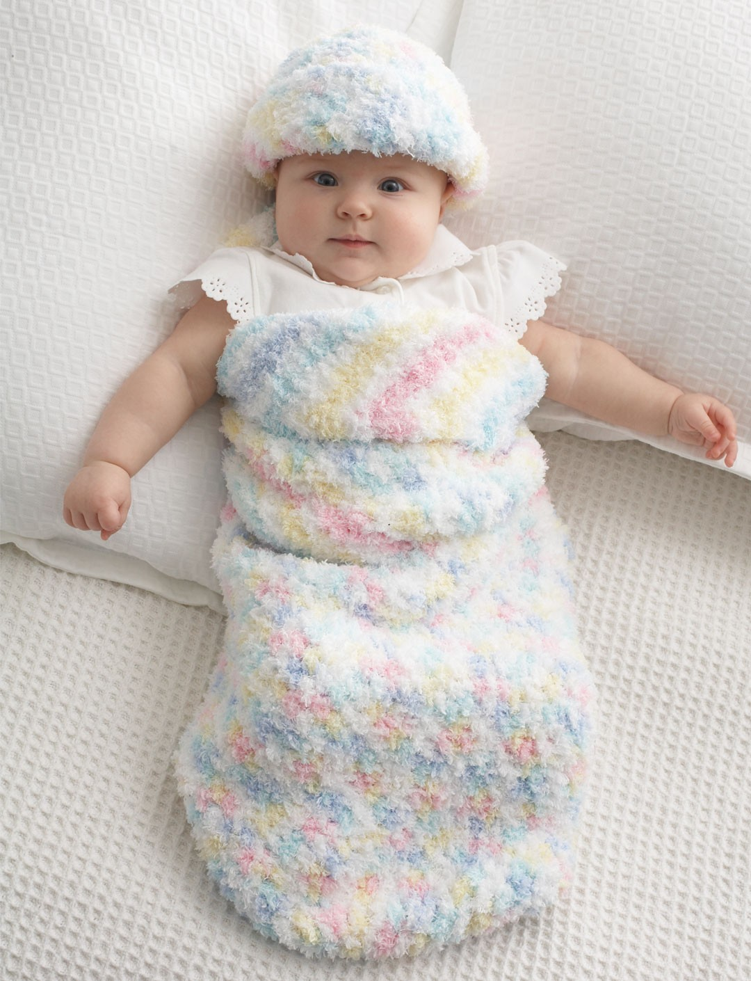 Free Knitting Pattern Baby Cocoon And Hat : Bernat Baby Cocoon and Hat, Crochet Pattern Yarnspirations