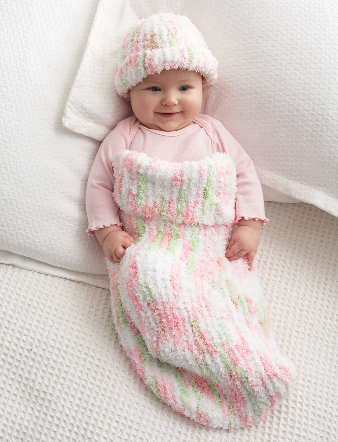 Free Knitting Pattern Baby Cocoon And Hat : Bernat Knit Baby Cocoon, Knit Pattern Yarnspirations
