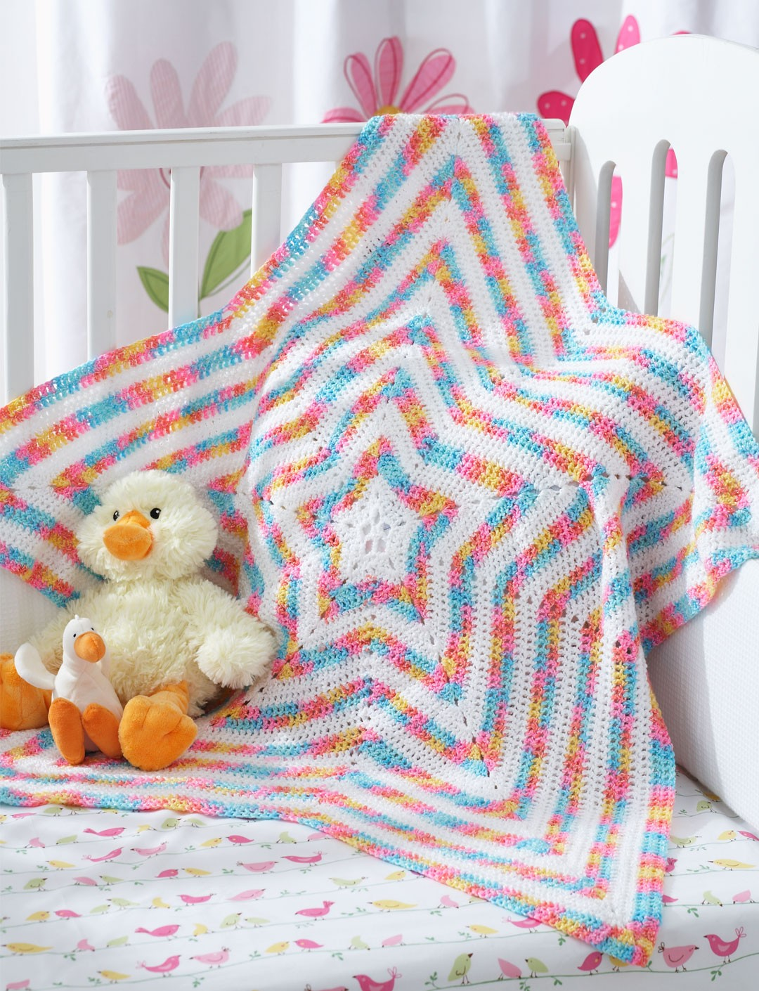 Star Baby Blanket Knitting Pattern : Bernat Star Blanket, Crochet Pattern Yarnspirations