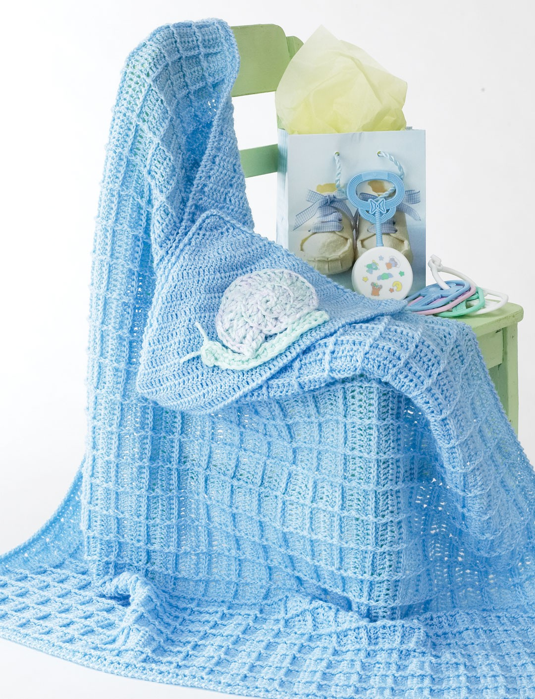 Knitting Pattern Baby Hooded Blanket : Bernat Snail Blanket, Crochet Pattern Yarnspirations