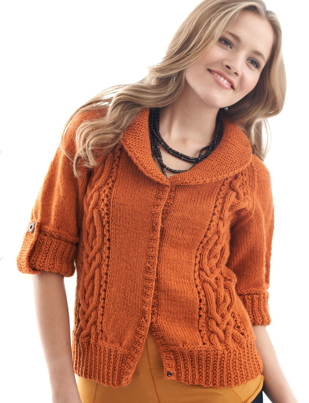 Cables and Collar Cardigan - Patterns Yarnspirations