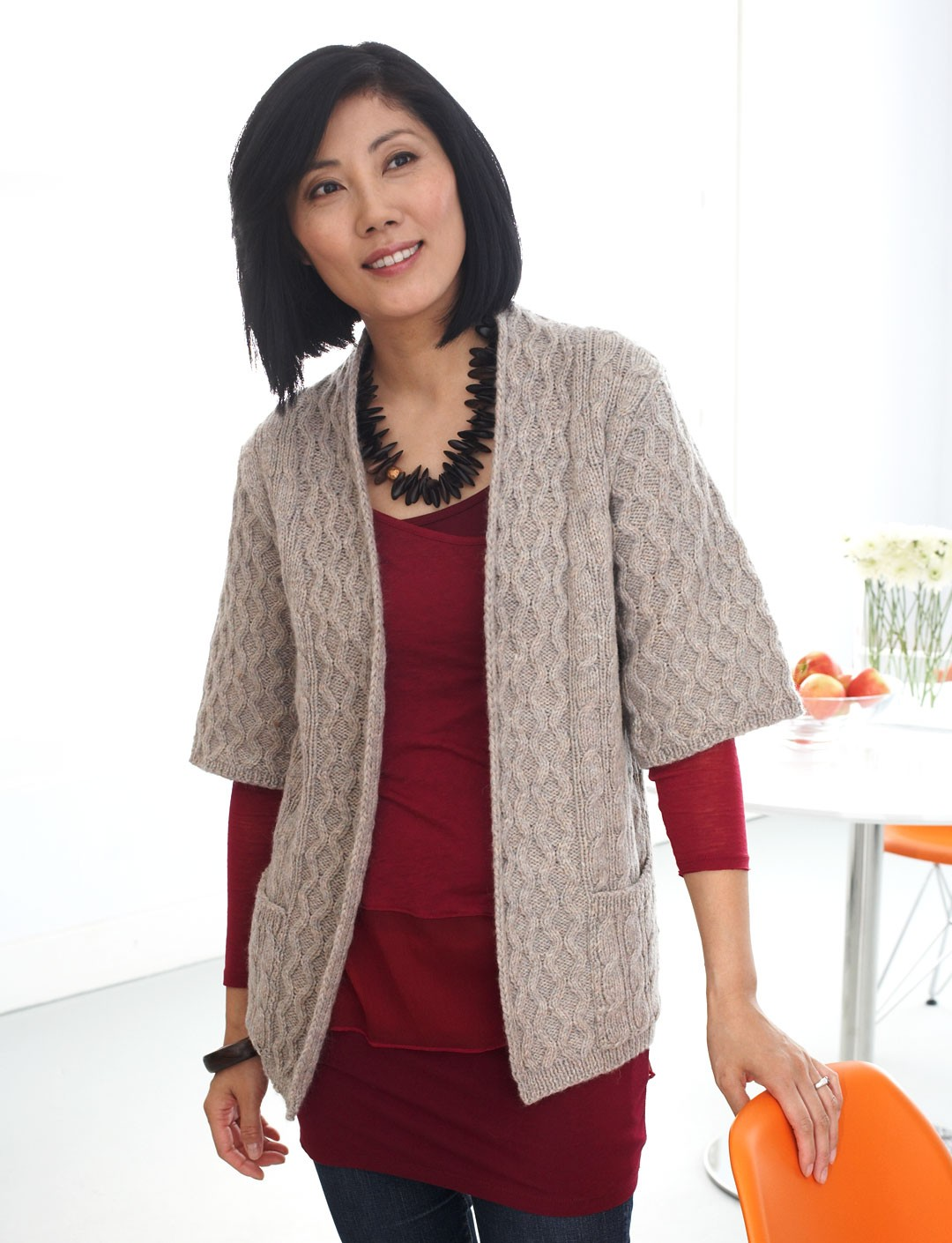 Patons Long Cardigan with Pockets, Knit Pattern ...