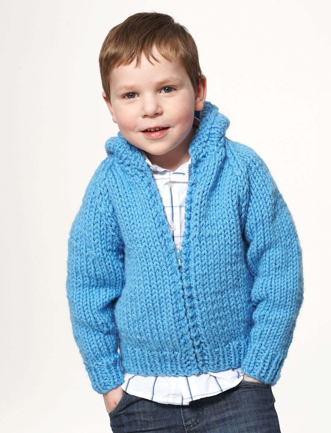 Knitting Pattern Hoodie Child : Bernat Kids Jacket, Knit Pattern Yarnspirations