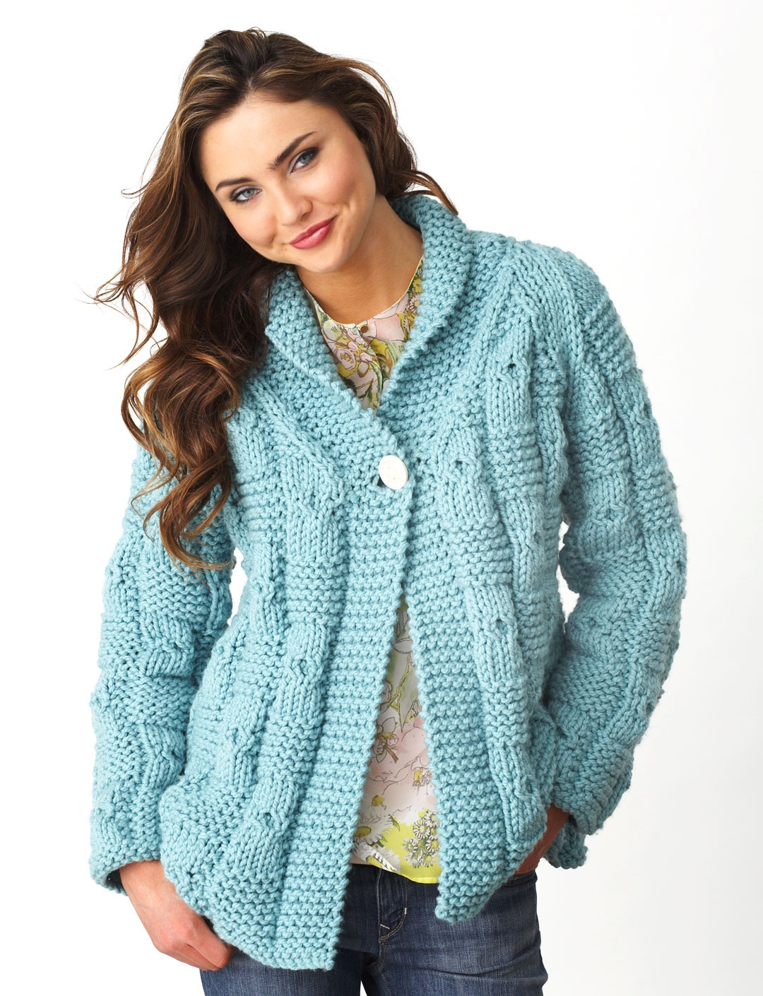 Chunky Knit Sweater Pattern Free : Bernat Textured Checks Cardigan, Knit Pattern Yarnspirations