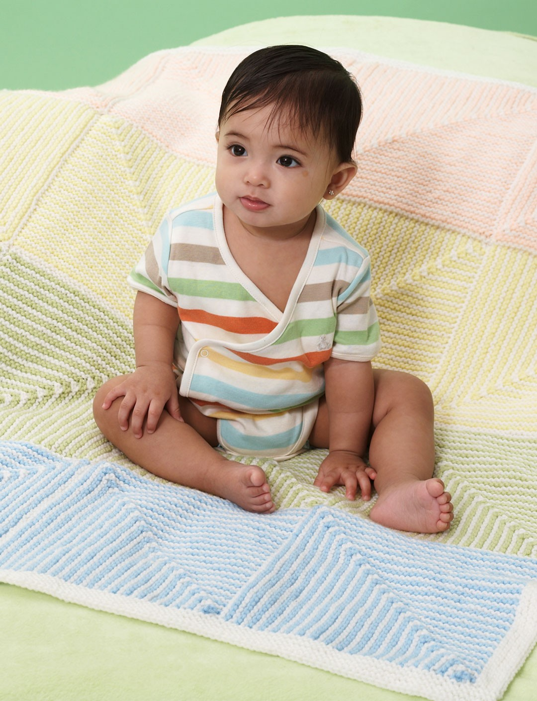 Free Knitting Patterns For Striped Baby Blankets : Bernat Pastel Stripe Baby Blanket, Knit Pattern Yarnspirations