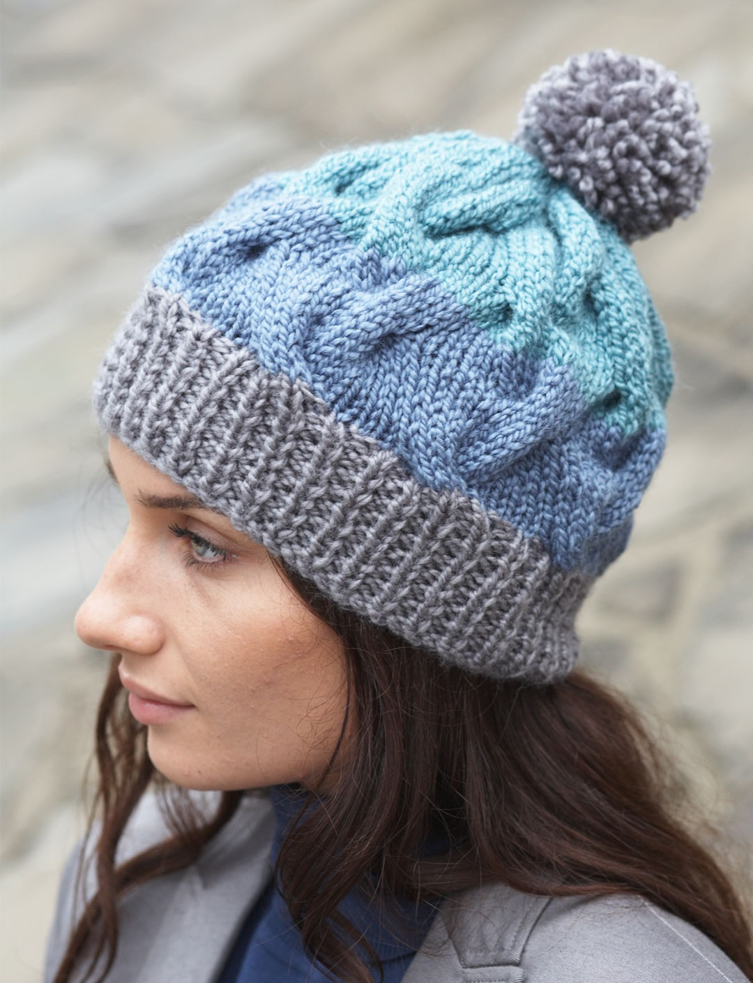 Free Hat Knitting Patterns Straight Needles : Patons Striped Cable Hat, Knit Pattern Yarnspirations