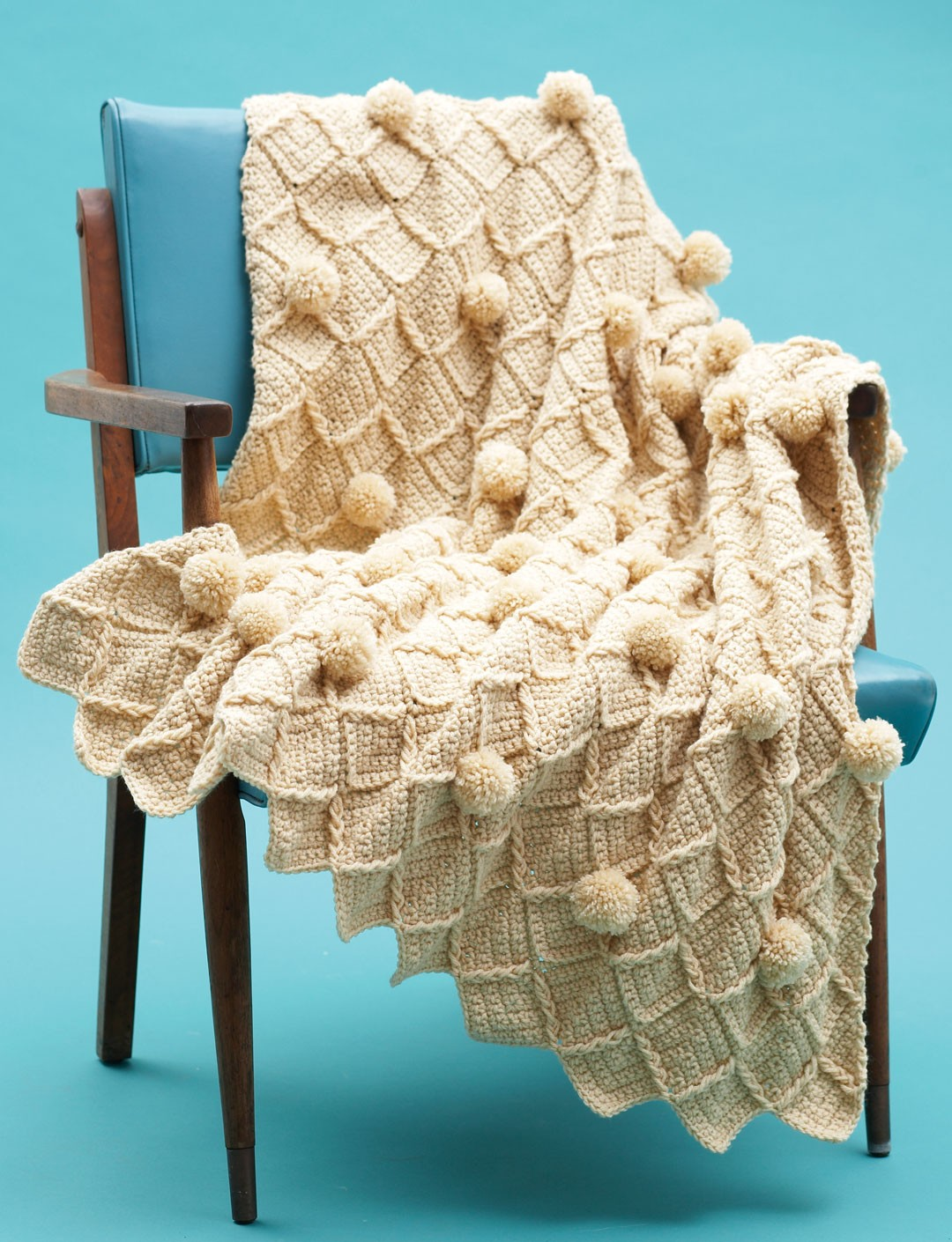 Lattice Pompom Blanket