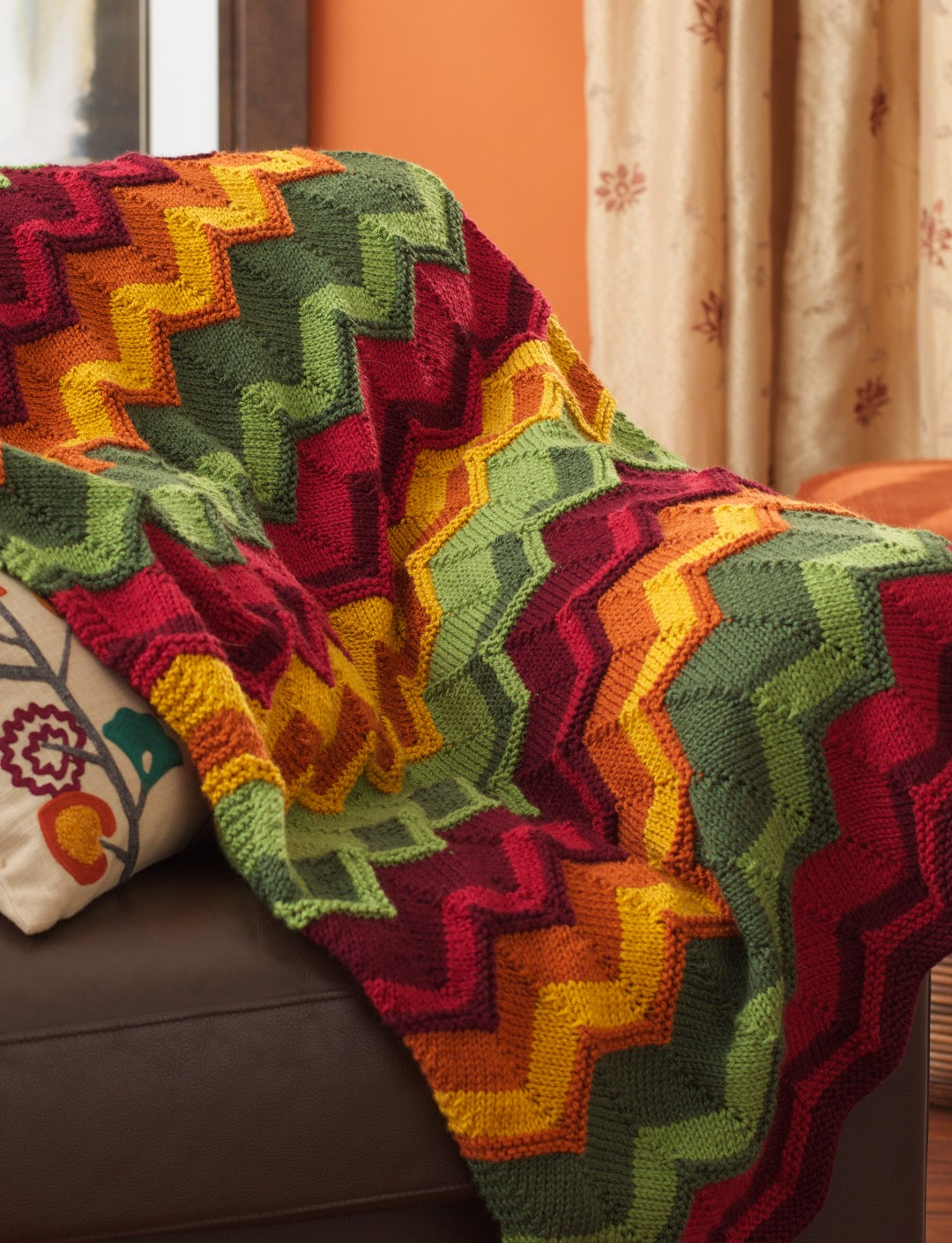 Chevron Afghan Pattern Knit : Patons Spicy Chevron Blanket, Knit Pattern Yarnspirations