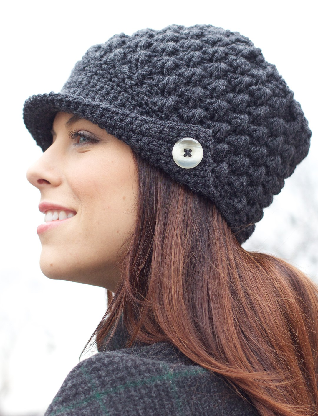Free Crochet Pattern Beanie With Brim : Patons Womens Peaked Cap, Crochet Pattern Yarnspirations