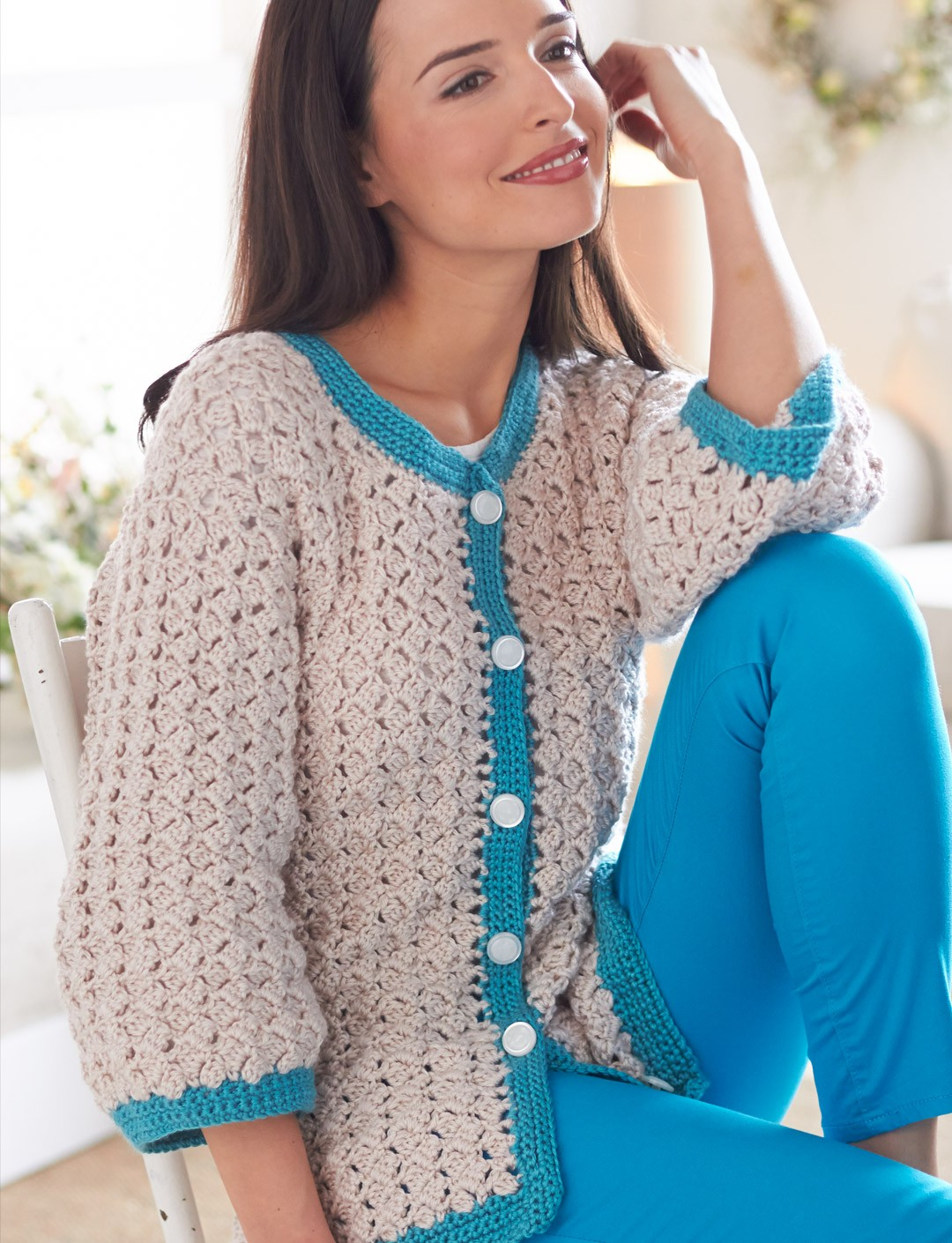 Crochet Patterns For Women s Cardigans : Bernat Cluster Stitch Cardigan, Crochet Pattern ...