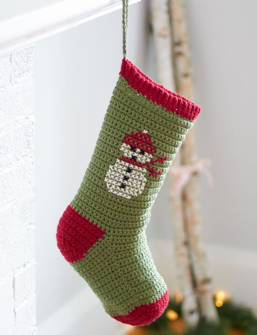 bernat cross stitch christmas stockings crochet pattern