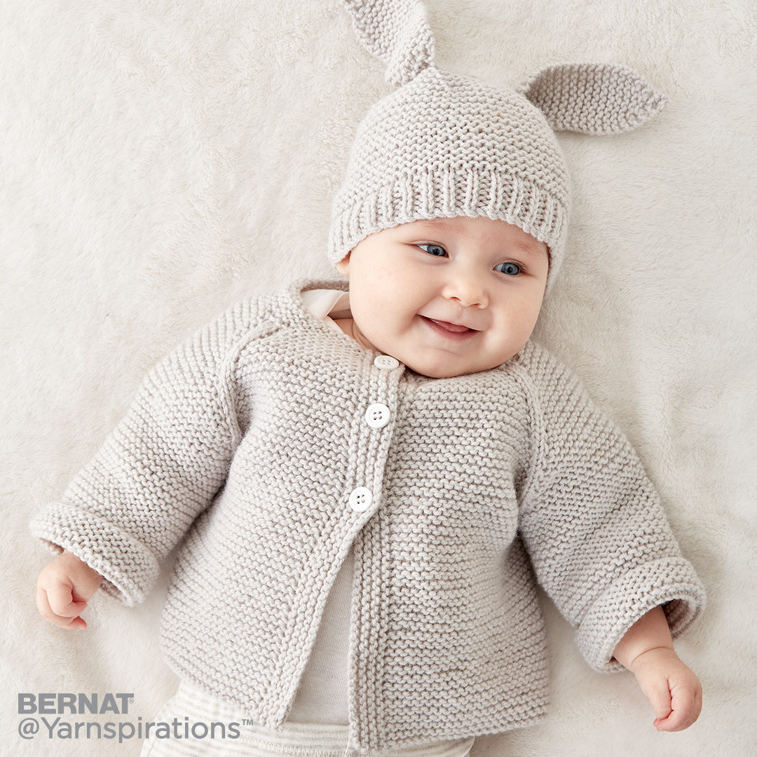 Knitting Patterns For Bernat Baby Sport Yarn : Bernat Knit Baby Jacket Set, Knit Pattern Yarnspirations